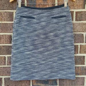 Calvin Klein Twead Knit Vegan Leather Trim Skirt